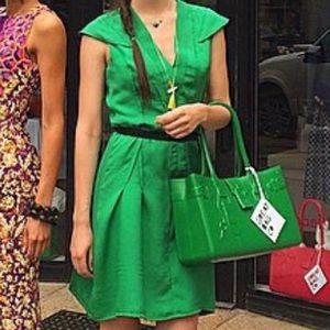 Textured silk green couture dress